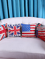 Set of 4 UK and US National Flags Style Polyester Decorative Pillow Covers