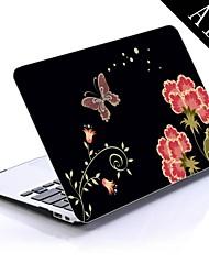 flores de clavel y diseño de la mariposa de cuerpo completo caja de plástico protectora para el de 11 pulgadas / 13 pulgadas libro de aire nuevo mac