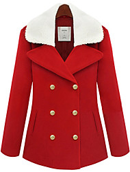 RLK Linen Warm Lapel Double-Breasted Coat  9881 Red