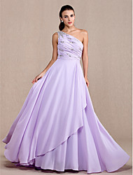 Prom / Formal Evening / Military Ball Dress - Plus Size / Petite A-line One Shoulder Court Train Chiffon