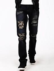 la de los hombres vals ™ con parche de camuflaje cintura media denim jean recto