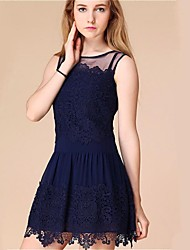 Women's Plus Size Mesh Splice Lace Mini Dress(More Colors)