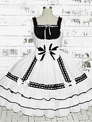 Sweet Lady Sleeveless Knee-length White Cotton School Lolita Dress