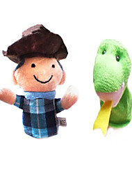 2PCS The Farmer and The Snake Aesop's Fables Plush Finger Puppets Kids Talk Prop