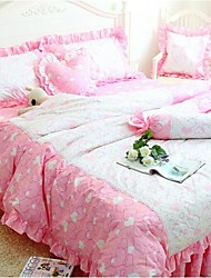FADFAY@Korean Pink Queen Size Bedding Set Romantic Little Heart Print Duvet Cover Set Queen