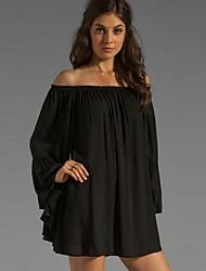 Women's Bateau Loose Chiffon Mini Dress