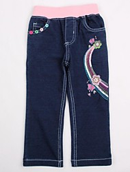 Girl's Denim Soild Flowers Embroidery Antumn Winter Kids Jeans Random Print