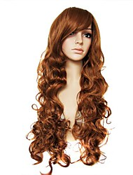 Capless Mix Color Extra Long High Quality  Natural Curly Hair Synthetic Wig with Full Bang