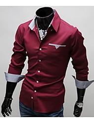 camisa padrão de verificação do revestimento slim-encaixe dos homens manlodi