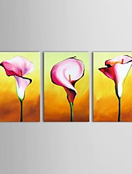 Hand Painted Oil Painting Floral Simple Flowers Group Flower  with Stretched Frame Set of 3