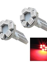 merdia t10 0.5W 12lm 6x1210smd lumineux rouge de l'instrument de lumière / lampe de lecture (paire / 12v)