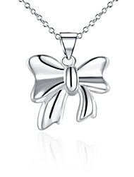 Fine Jewelry 925 Sterling Silver Jewelry Bow-knot Pendant Necklace for Women