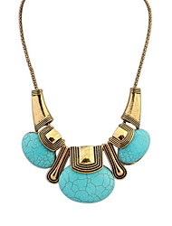 Women's Jewelry European and American Bohemia Style Big Turquoise Necklace