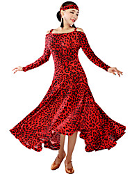 Ballroom Dance Dresses Women's Training Viscose Animal Print Long Sleeve