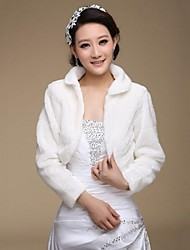 Long Sleeve Faux Fur Bridal Wedding Wrap / Jacket