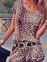 leopardo de código grande calças vestido das mulheres