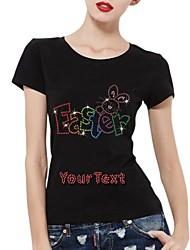 strass personalizado T-shirt de algodão de mangas curtas padrão das mulheres de páscoa