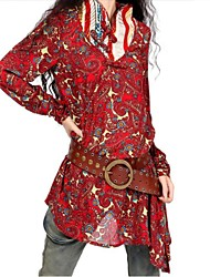 Women's Boho Red Blouse , Stand Long Sleeve