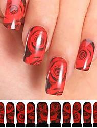 12шт красная роза черный водяной знак Nail Art Наклейки c3-010