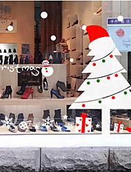 """merry christmas classici alberi incantevoli e finestra i fiocchi di neve adesivo (17.76 """"w × 25.2"""" l)"""