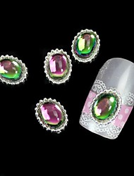 10pcs Colorfull Stone Oval Alloy With Gear DIY Nail Art Decoration