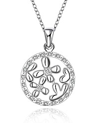 Fine Jewelry 925 Sterling Silver Jewelry Round with Flower Pendant Necklace for Women