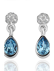 Earring Drop Earrings Jewelry Women Wedding / Party / Daily Crystal / Platinum Plated White