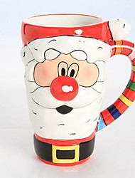 Cartoon Christmas Father Shape Mugs for Gift, Painting Ceramic