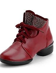 salto baixo strass couro real sapatos de dança respirável dança sapatilha das mulheres (mais cores)