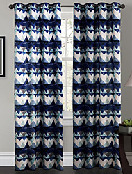 philips giovani - (due pannelli) navy contemporaneo Blue astratto curve tenda geometrica