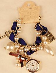 POPPY Women's Elegant Imitation Pearl With Bow Bracelet Watch