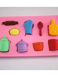 Gloves Pot Spoon Fondant Cake Chocolate Silicone Mold Cake Decoration Tools,L6.9cm*W6.9cm*H1cm