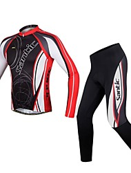 SANTIC Cycling Jersey with Tights Men's Long Sleeves Bike Jersey Clothing Suits Breathable Compression Polyester Stripe Winter Fall/Autumn
