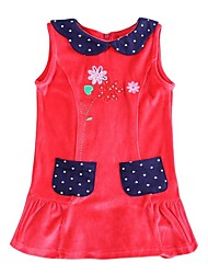 Girl's Red Dress Cotton Winter / Spring / Fall