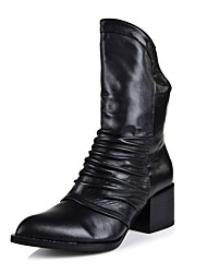 Women's Shoes Pointed Toe Chunky Heel Leather Mid-Calf Boots