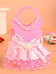 diseño de vestido de la muchacha con mango favor bolsa-conjunto de 12 (más colores)