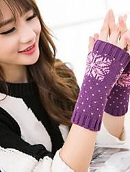 stampa di neve di modo delle donne di lavoro a maglia guanti caldi