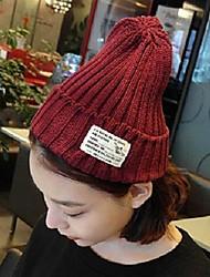 moda color puro tejer sombrero caliente de la raya de las mujeres