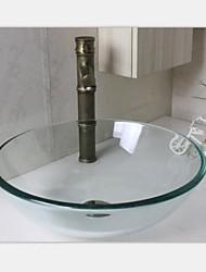 прозрачный раковина вокруг бассейна закаленное стеклянный сосуд с антикварной набора крана
