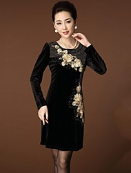 Women's Formal Sheath Dress,Floral Round Neck Above Knee Long Sleeve Blue / Black / Purple Cashmere Spring / Fall / Winter