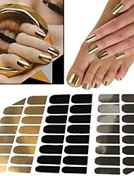 48pcs Manicure Sticker Decal Gold Silver Black Metal Sticking