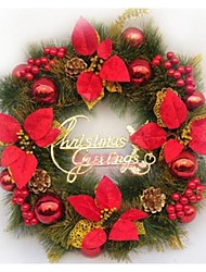 Red Christmas Wreath Doors Decorated Christmas Decorations