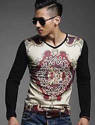 Hugo Men's Round Vintage Floral Print Long Sleeve Slim T-shirt