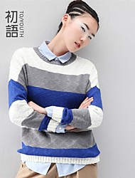 Women's Blue/Yellow Casual Long Sleeve