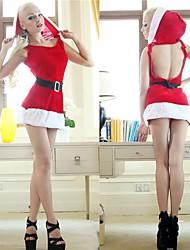 vestito sexy backless rosso adulto costume della donna di Natale