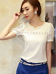 Women's Elegant V Neck Shirt Hollow Casual Blouse