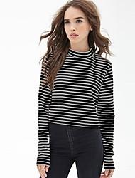 Damen Gestreift Einfach Lässig/Alltäglich T-shirt,Ständer Frühling / Herbst Langarm Schwarz Polyester Undurchsichtig / Mittel
