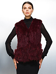 Fur Vests Sleeveless Collarless Rabbit Fur And Raccoon Fur Special Occasion/Casual Vest(More Colors)