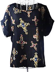 Women's Print Black/Beige Shirt , Round Neck Short Sleeve