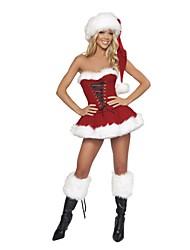 sexy sin respaldo sin tirantes vestido de navidad de las mujeres de rendimiento&set sombrero